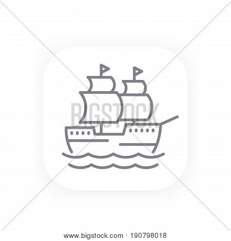sailing vessel, old ship line icon, eps 10 file, easy to edit