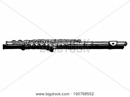 Vector hand drawn illustration of flute. Black and white isolated on white.