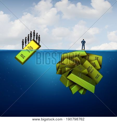 Vision investing and hidden wealth opportunity business concept as a smart financial investor metaphor versus common investment follower crowd as a single and group of gold bars with 3D illustration elements.