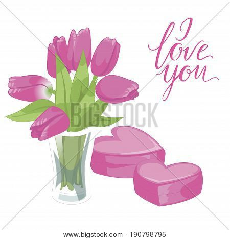 Flower vase and two pink hearts. Flower vase isolated icon on white background. Vase of flowers. Pink tulips. Flat style vector. I love you lettering
