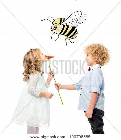 Kids With Flower And Bee