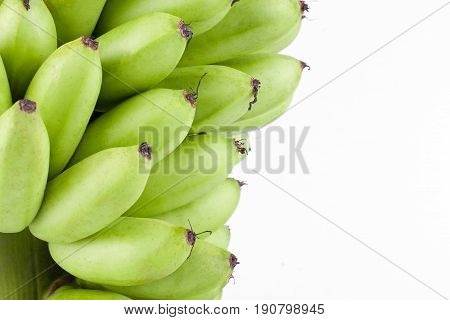 raw Golden bananas  on white background healthy Pisang Mas Banana fruit food isolated