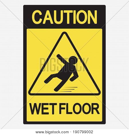 Caution wet floor, beware of slippery - vector