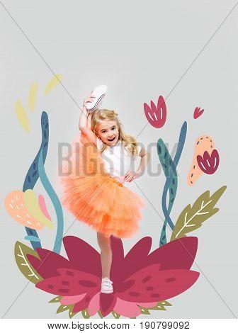 Cute Little Girl On Flower