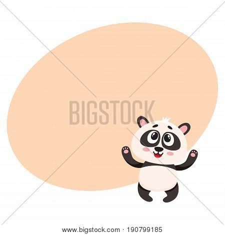 Cute and funny smiling baby panda character looking up, cartoon vector illustration with space for text. Cute little panda bear character, mascot with paws raised up