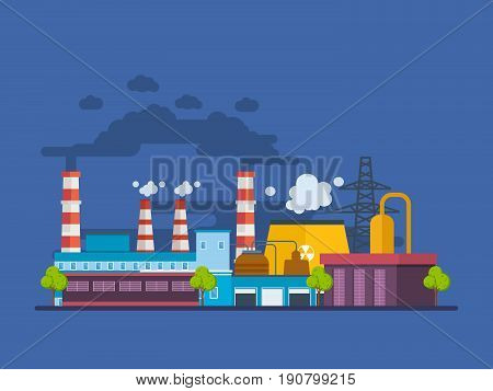 Buildings of an industrial and petroleum plants, stations and reactors, power lines and resource work, laboratory. Modern vector illustration isolated.