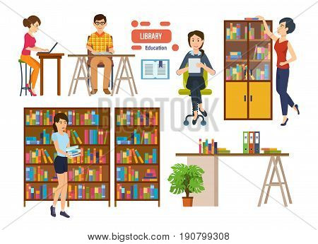 People with books and a tablet is engaged in the library, picks up the necessary material, reading choosing books. Interior room. Education in library school or university
