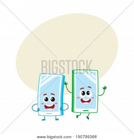 Two cartoon mobile phone characters, one arms akimbo, another jumping happily, vector illustration with space for text. Two cartoon mobile phone, smartphone characters