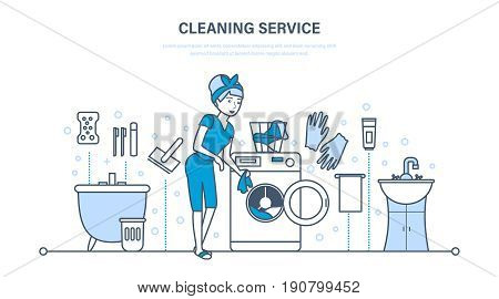 Housewife in bathroom, is engaged in cleaning service, wiping dust, cleans out clutter, against background of an interior room. Illustration thin line design of vector doodles, infographics elements.