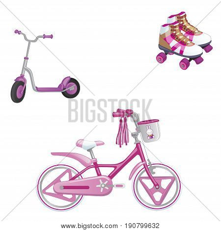 Set of children's transport. Eco transport for kids. Cute kids bicycle roller skating and roller scooter for a girl. Vector illustration isolated on white