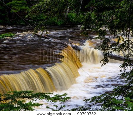 Northern Michigan Waterfall. Lower Tahquamenon Falls in the Upper Peninsula of Michigan. Tahquamenon Falls State Park is the second largest of Michigan's state parks.