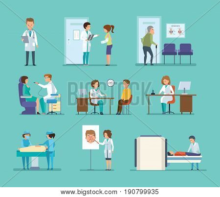 Medicine and doctor's visit. Reception by doctors, patient visits, therapist doctor, radiologist, surgeon, dentist, oculist, hospital staff. Diagnostic and medical treatment. People cartoon style