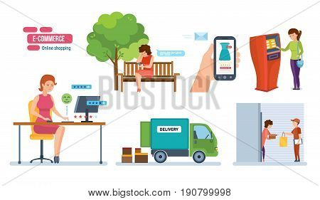 E-commerce, online shopping. Order in online store, choice of goods, payment of order, delivery, receipt of order, feedback, rating. Vector illustration isolated on white background in cartoon style.