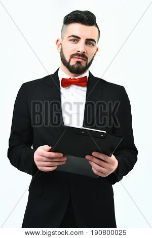 Announcer With Folder