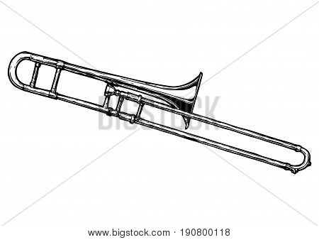 Vector hand drawn illustration of trombone. Black and white isolated on white.