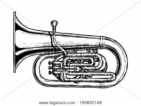 Vector hand drawn illustration of tuba. Black and white isolated on white.