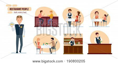 Restaurant people: friends in bar, couple in love on festive dinner, bartender at bar counter, waiter in branded clothes, mom and child in cafe, staff, visitors, food. Illustration in cartoon style.