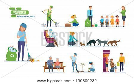 Volunteers concept. Help people and nature. Set with young people helping elderly people, animals, planting and recycling rubbish, cleaning city. Vector illustration isolated on white background.