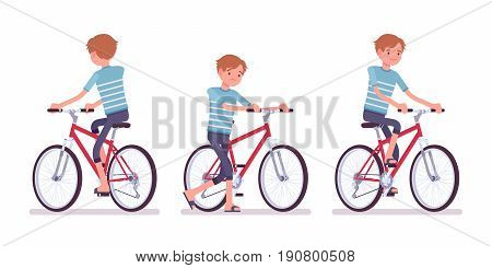 Young man wearing blue leisure summer fit, trendy stripe print, beach shoes, cycling a bike, bad rider. Front and rear view. Vector flat style cartoon illustration, isolated, white background