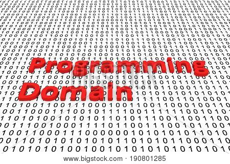 Programming domain in the form of binary code, 3D illustration