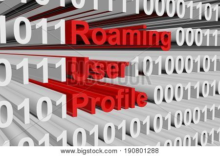 Roaming user profile in a binary code 3D illustration