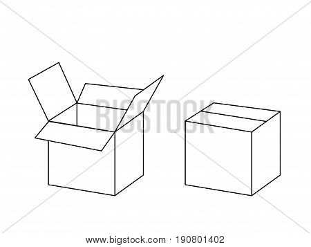 Black and white cardboard box package open and closed, vector illustration