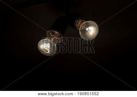Two Retro Light Bulb In The Dark . New Ideas