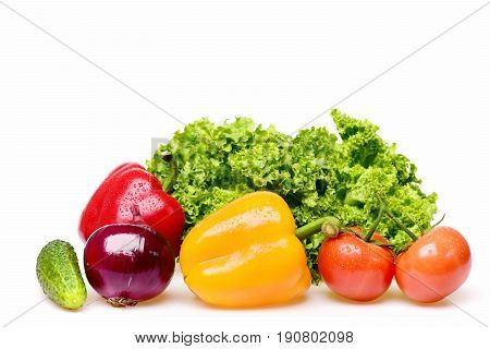 fitness concept peppers leafy vegetables or green lettuce leaf with red tomatoes onion and cucumber isolated on white background