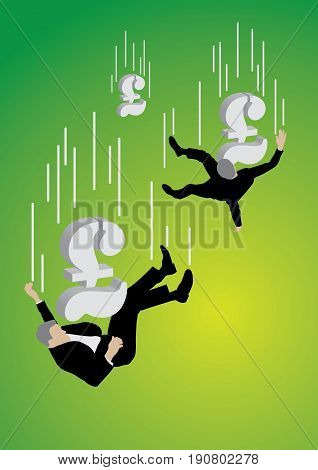 Falling businessman pushed down by big Poundsterling sign on green background