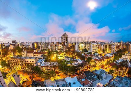 MONTEVIDEO, URUGUAY - SEPTEMBER 3: Aerial view of the city at night on September 9, 2015 in Montevideo, Uruguay.
