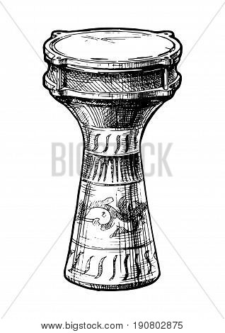 Vector hand drawn illustration of goblet drum (turkish darabuka) in vintage engraved style. isolated on white background.