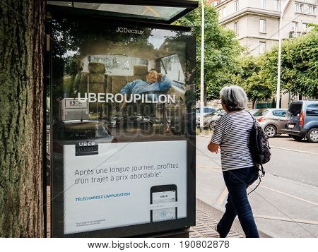 Uber Advertising For Taxi Service At Bus Station