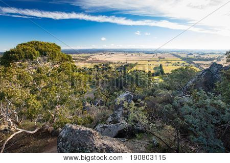 The popular tourist attraction of Hanging Rock. A volcanic group of rocks atop a hill in the Macedon ranges, Victoria, Australia