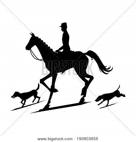 Silhouettes for hunting for foxes. Vector illustration.