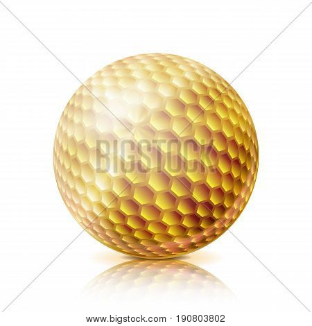 Realistic Golf Ball Isolated On White Background. Traditional Classic Golf Ball Design. Three-dimensional. Vector