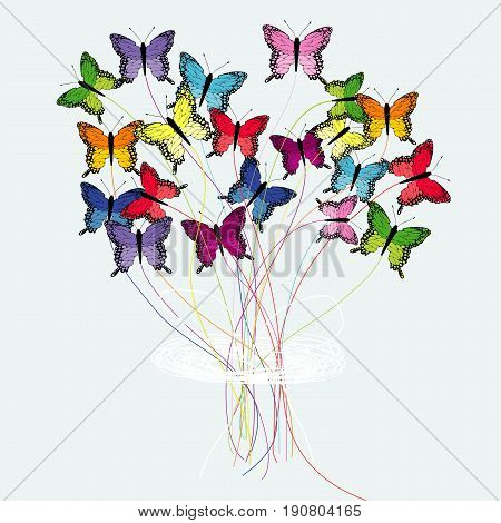 Abstract illustration of s bouquet of colored butterflies