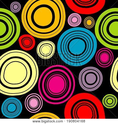 Colorful circles seamless pattern on black background