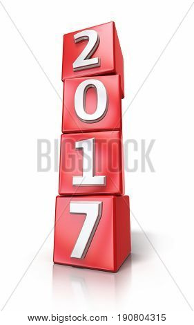 3d render New Year 2017 red cube (isolated on white and clipping path)