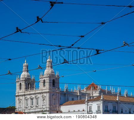 Lisbon Portugal. 05 June 2017.View of Sao Vincente de Fora Church from the Portas do Sol viewpoint in Alfama. Lisbon Portugal. photography by Ricardo Rocha.