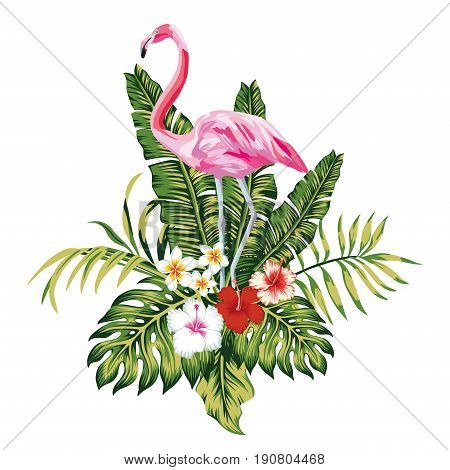 Exotic birds pink flamingo tropical palm leaves and flowers jungle beach seamless vector floral pattern wallpaper white background