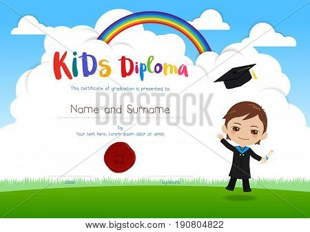Colorful kids diploma certificate template in cartoon style with smiling boy in graduation gown suit and flying hat