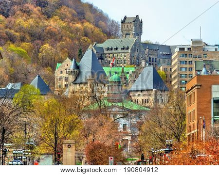 McGill University, McTavish reservoir and Royal Victoria Hospital in Montreal - Quebec, Canada