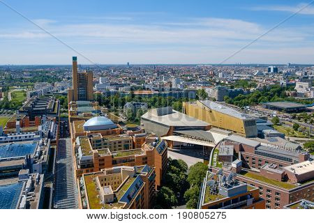 Skyline of Berlin Germany - city center / cityscape aerial