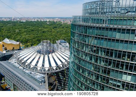 Berlin Germany - june 9 2017: Roof of the Sony Center at Potsdamer Platz in Berlin Germany.