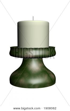 Green Candle Stick And Candle