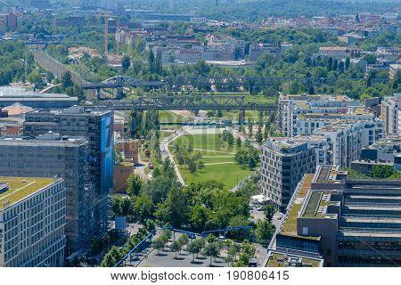 Berlin Germany - june 9 2017: City aerial of Berlin around the Potsdamer Platz with Gleisdreicek Park and district Schoeneberg poster