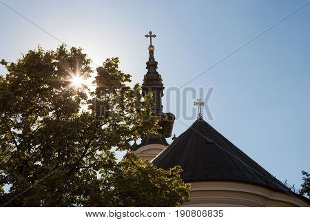 Saint George Cathedral in Novi Sad Serbia taken at sunset from behind. This is one of the main symbols of Serbian Orthodox Church in Novi Sad capital city of Voivodina province