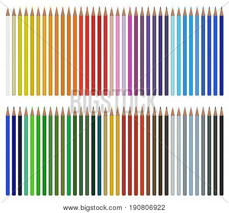 Colored pencils vector illustration isolated on white background