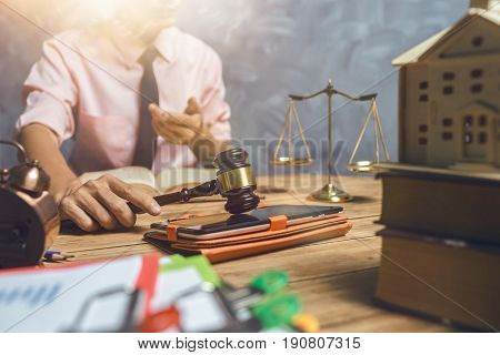 Young Lawyer Help His Customer About Buy New Home Tax And Loan Concept, Hardworking In The Office Wi