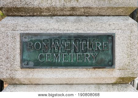 Entrance sign at historic Bonaventure Cemetery in Savannah Georgia. The public cemetery is famous for being featured in the book and movie